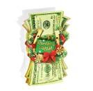 Пакет-открытка Удачного Года купюры (блестки)