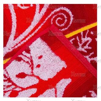 Полотенце махровое пестроткань жаккард Зимняя сказка, 70 x140 см