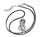 Кулон на шнурке Кобра чернёное серебро, 40 см