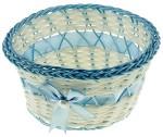 Корзинка декоративная Голубая с бусиной и бантом 8*16*16см